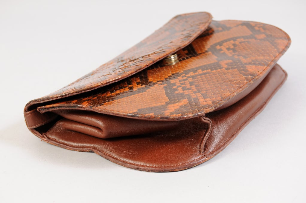 Brown Charles Jourdan Copper Snakeskin Clutch or Shoulder Bag For Sale