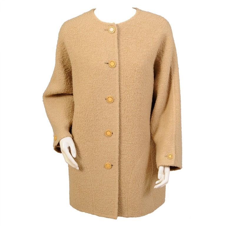 Pierre Balmain Haute Couture Oatmeal Wool Jacket  Designed by Oscar de la Renta