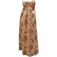 1960's Pauline Trigere Strapless Empire Gown Voided Velvet Silk Satin