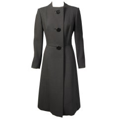 Pauline Trigere Black Wool Coat