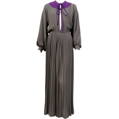 James Galanos Charcoal Grey Silk Dress, Slit to the Waist, Purple Silk Accents