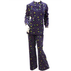 1960's Givenchy Red and Green Polka Dots on Navy Velvet Pant Suit