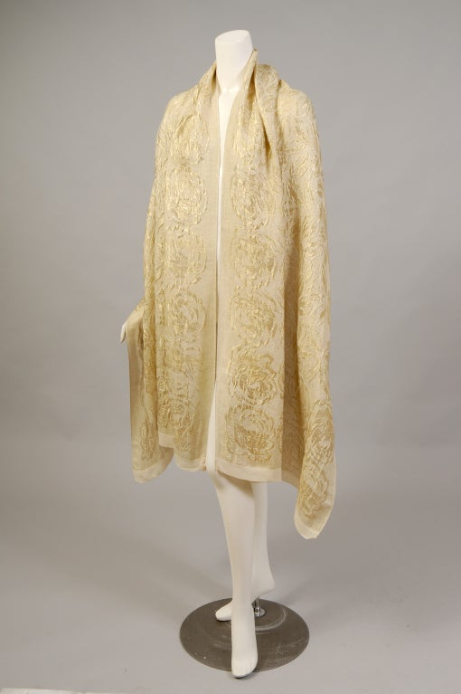 1920's Liberty Gold Lame Shawl - Never Worn 2