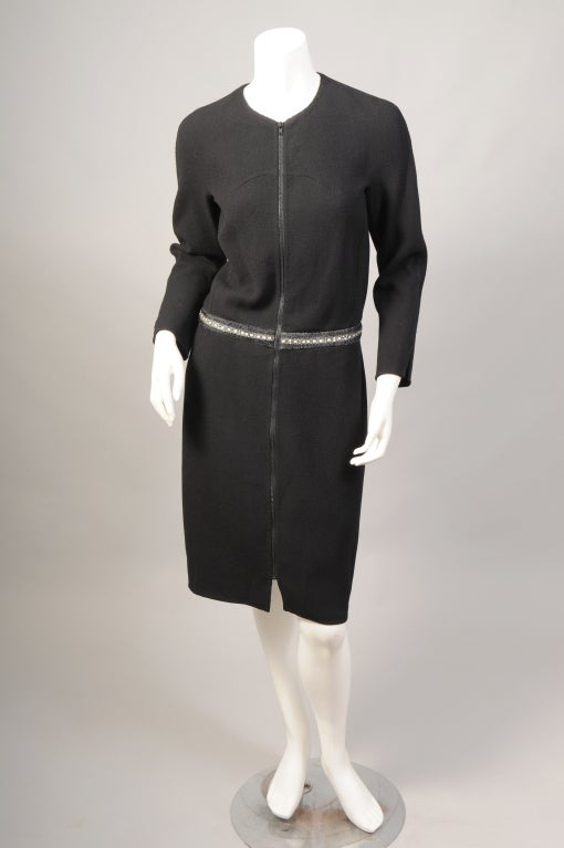 Black Chado Ralph Rucci Shagreen Trimmed Dress For Sale