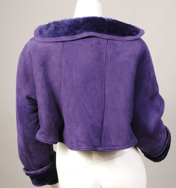 Geoffrey Beene Purple Shearling Bolero In Excellent Condition For Sale In New Hope, PA