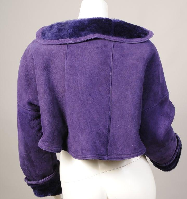 Geoffrey Beene Purple Shearling Bolero 3