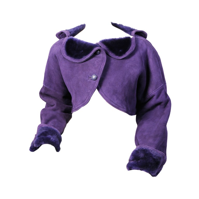 Geoffrey Beene Purple Shearling Bolero For Sale