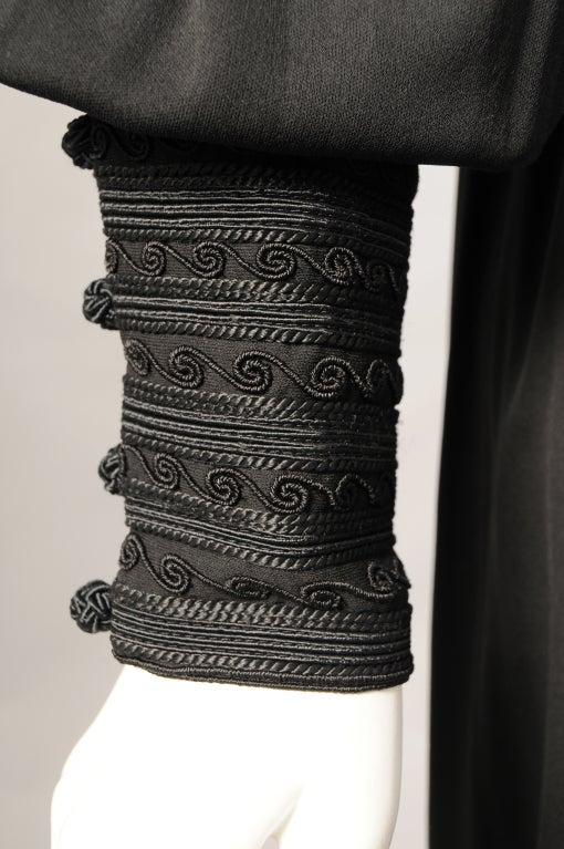 Black Yves Saint Laurent Russian Collection Soutache Embroidered Dress, 1970s  For Sale