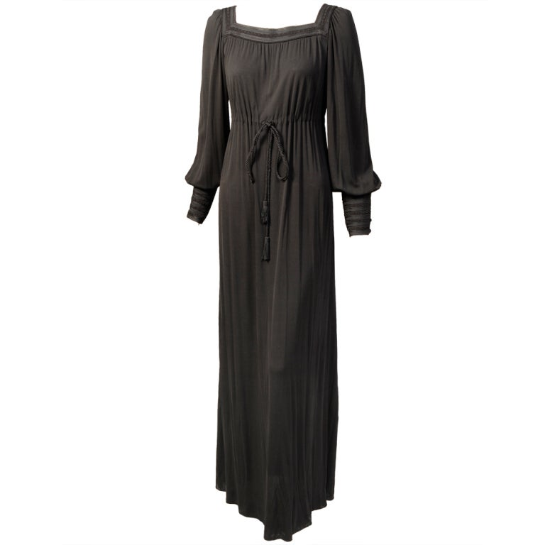 Yves Saint Laurent Russian Collection Soutache Embroidered Dress, 1970s  For Sale