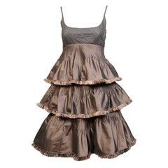 Chado Ralph Rucci Empire Bodice Silk and Wool Dress with Matching Silk Shawl