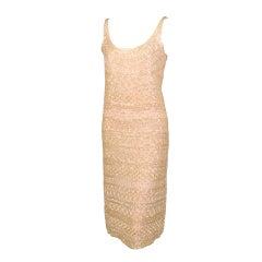 Halston Blush Colored Bugle Beaded Evening Dress