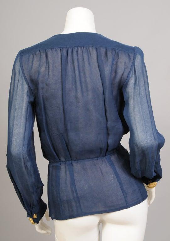 Women's Yves Saint Laurent Haute Couture Chiffon Blouse For Sale