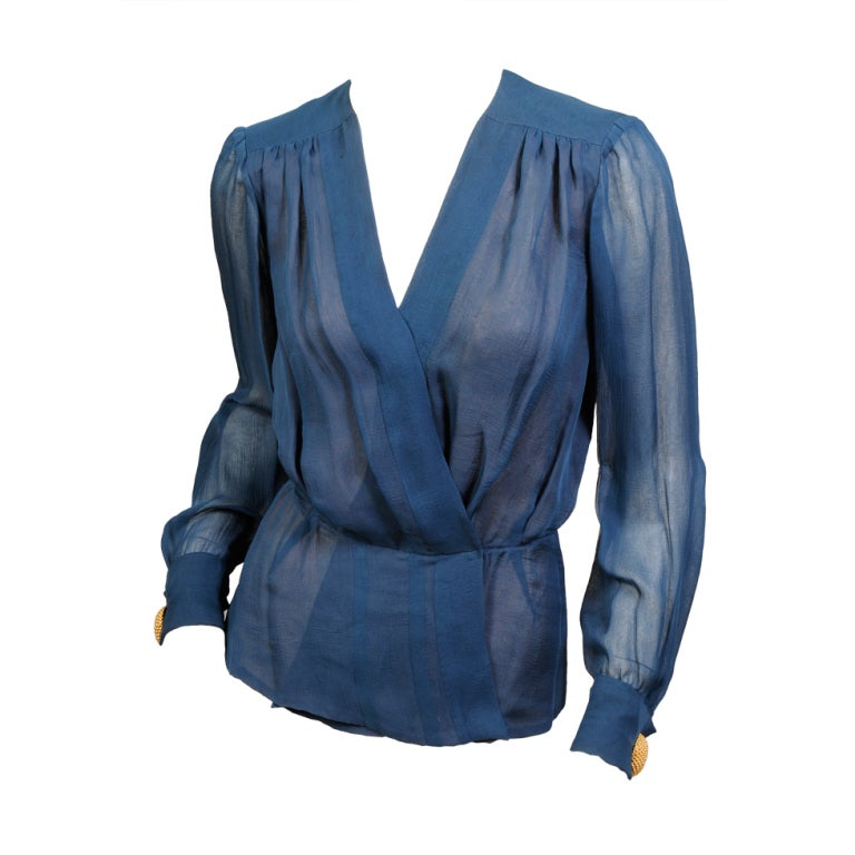 Yves Saint Laurent Haute Couture Chiffon Blouse For Sale