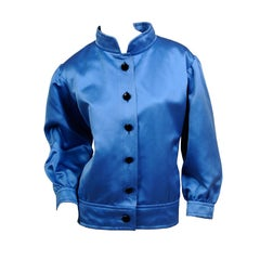 Yves Saint Laurent Numbered Haute Couture Blue Satin Jacket