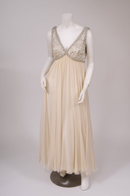 1960's Beaded Chiffon Gown 2