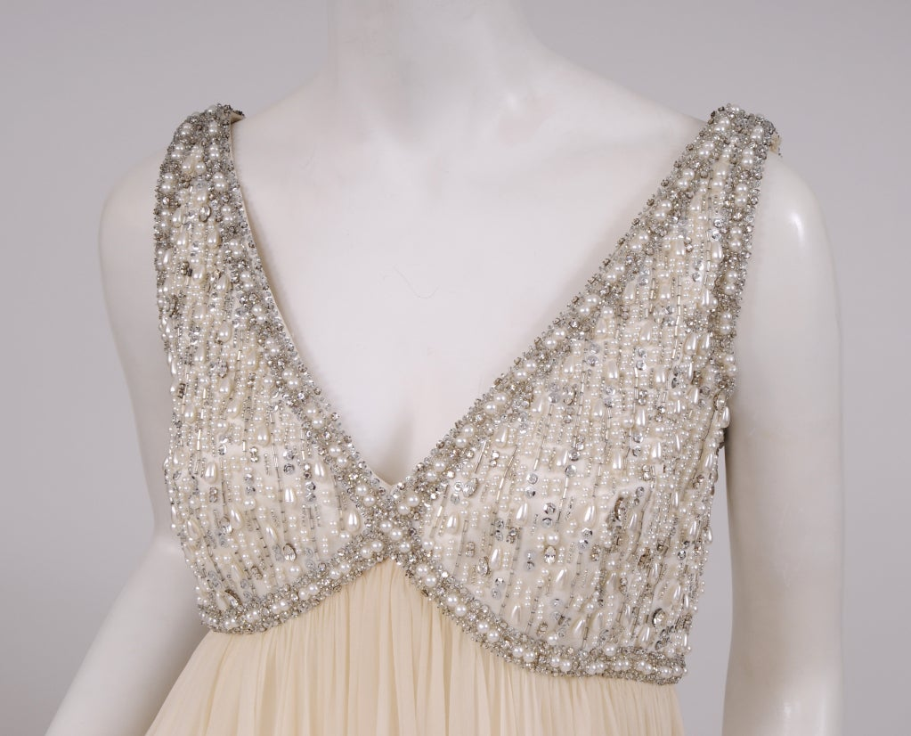 1960's Beaded Chiffon Gown 3