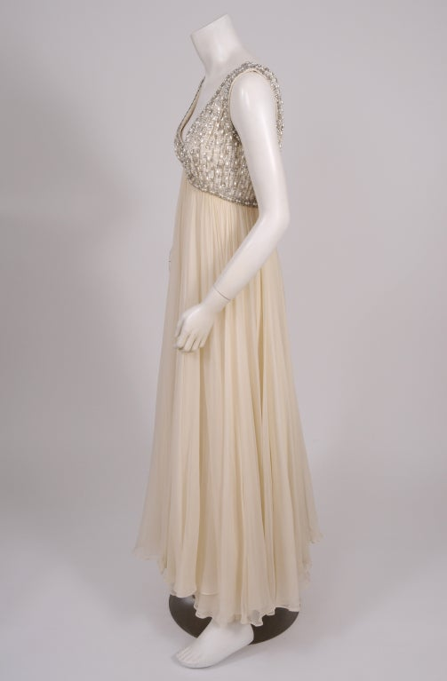 1960's Beaded Chiffon Gown 4
