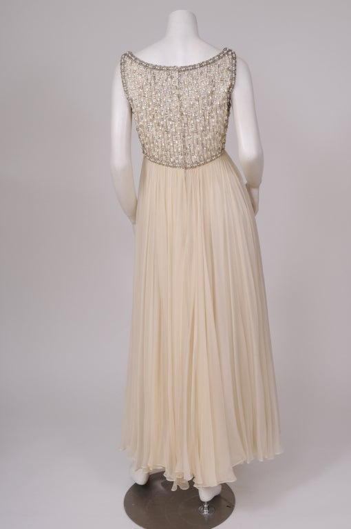 1960's Beaded Chiffon Gown 5
