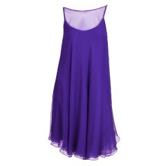 1960's Nina Ricci Violet Silk Chiffon Cocktail Dress
