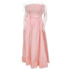 Albert Capraro Feather Trimmed Dress