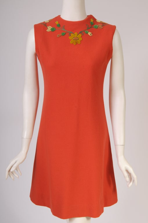 Red Freida Wolf 1950's  Appliqued Cashemere Cardigan & Dress For Sale