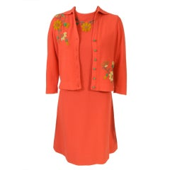 Freida Wolf 1950's  Appliqued Cashemere Cardigan & Dress