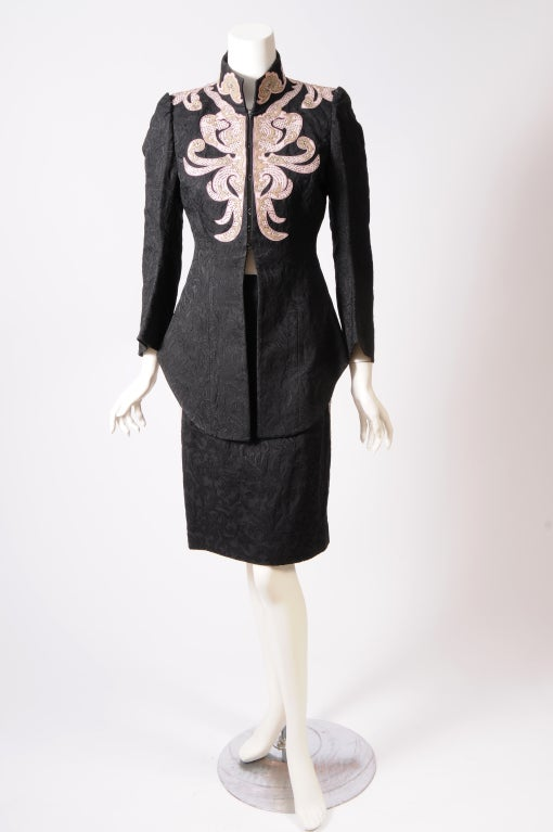 Christian Lacroix Embroidered Leather Trimmed Suit 2