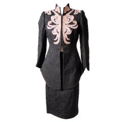Christian Lacroix Embroidered Black Cotton Suit with Pink Leather Trim