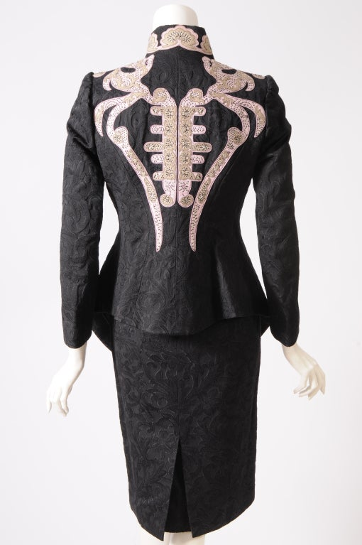 Christian Lacroix Embroidered Leather Trimmed Suit 6