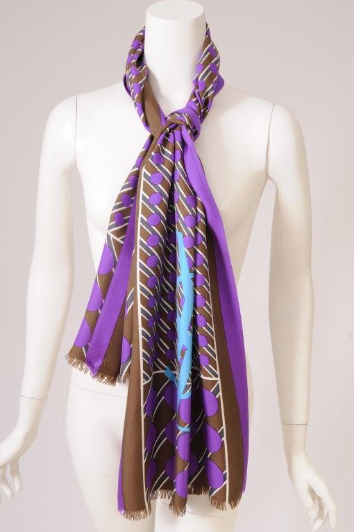 Gray YSL Silk Scarf For Sale