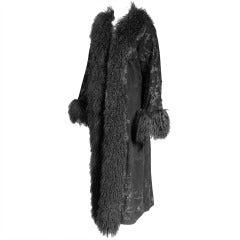 Adrienne Landau Embroidered & Beaded Suede Coat