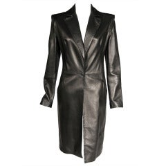 Gianni Versace Supple Black Leather Coat