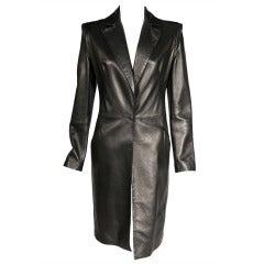Gianni Versace Supple Black Leather Coat