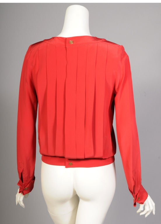 Red Chanel Pleated Silk Blouse For Sale