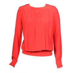 Chanel Pleated Silk Blouse