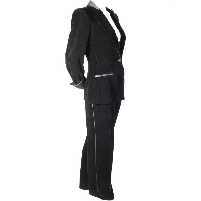 Giorgio Armani Black Velvet Tuxedo with Black Satin Trim