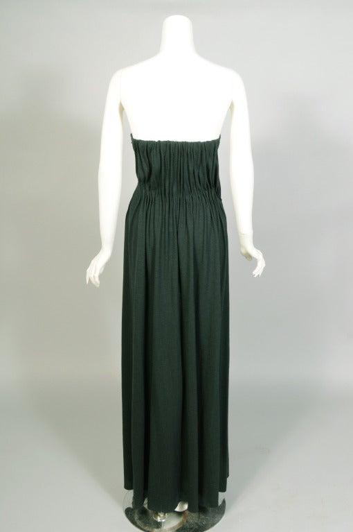 Black Lanvin Bottle Green Draped Jersey Strapless Evening Dress For Sale