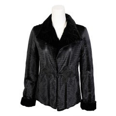 Giorgio Armani Black Pleated Silk and Velvet Jacket