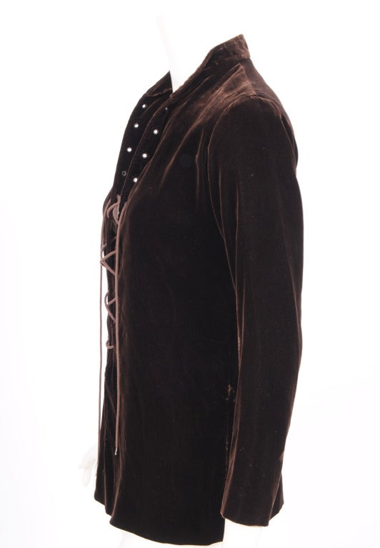 Yves Saint Laurent Velvet Tunic with Lacing 2
