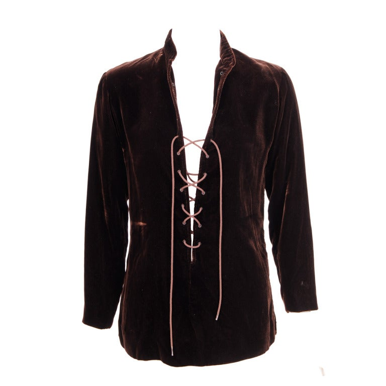 Yves Saint Laurent Velvet Tunic with Lacing 1