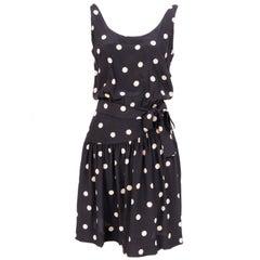 Martha, Palm Beach White Polka Dots on Black Silk Dress