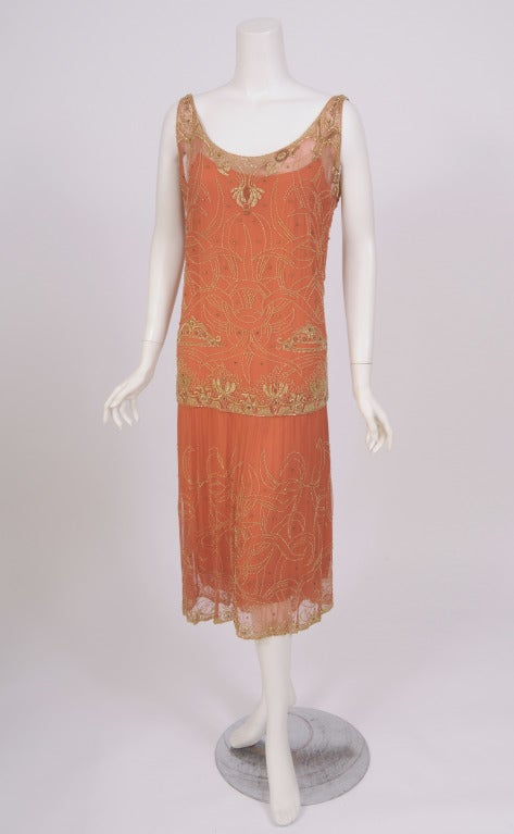 1920's French Gold Beaded Flapper Dress image 2