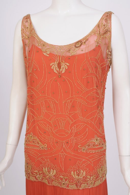 1920's French Gold Beaded Flapper Dress image 3