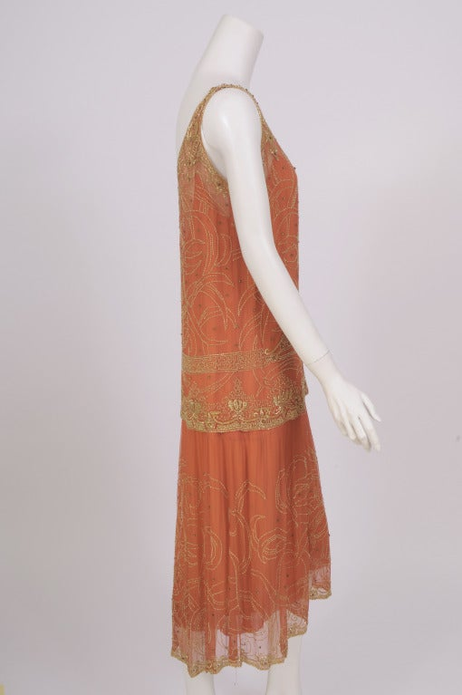 1920's French Gold Beaded Flapper Dress image 4