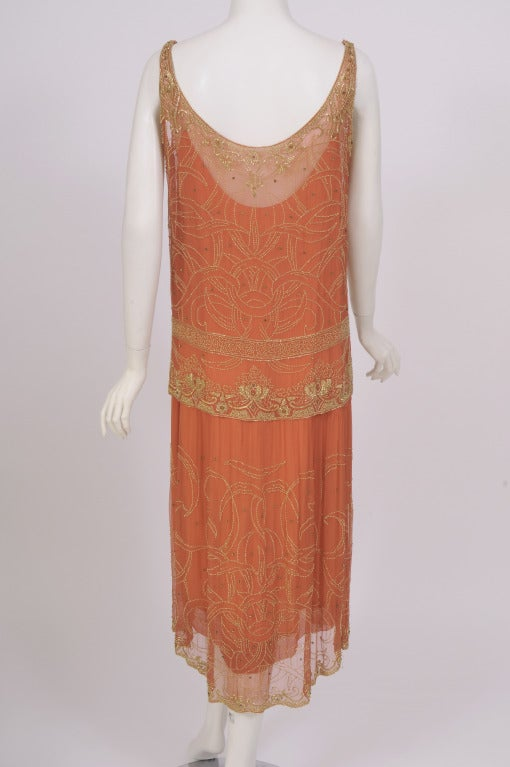 1920's French Gold Beaded Flapper Dress image 5
