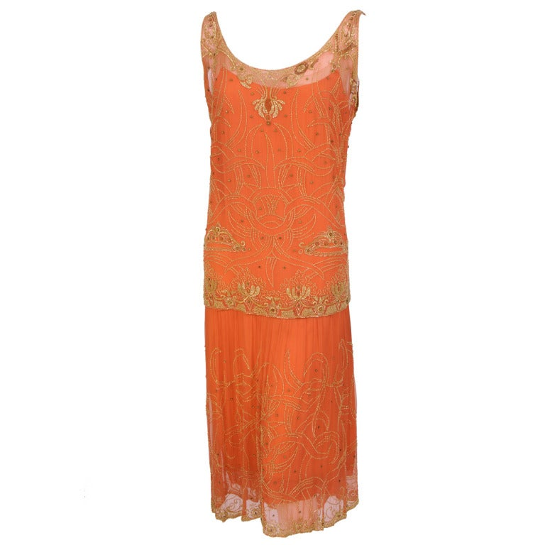 1920's French Gold Beaded Flapper Dress