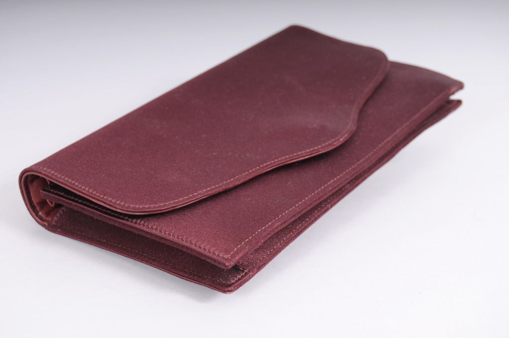 Hermes Burgundy Satin & Leather Clutch 3