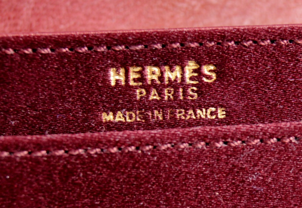 Hermes Burgundy Satin & Leather Clutch In Excellent Condition For Sale In New Hope, PA