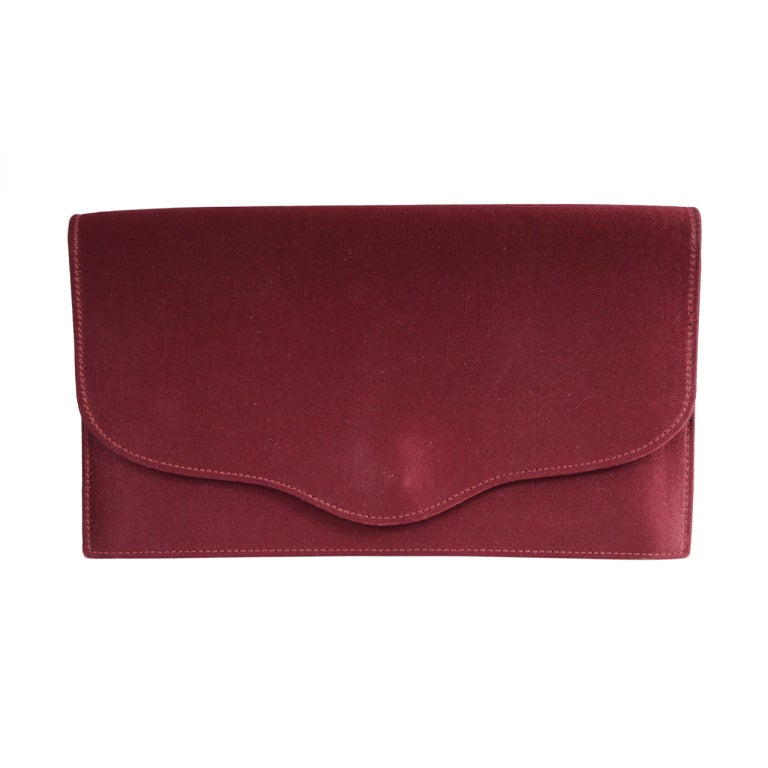Hermes Burgundy Satin & Leather Clutch For Sale