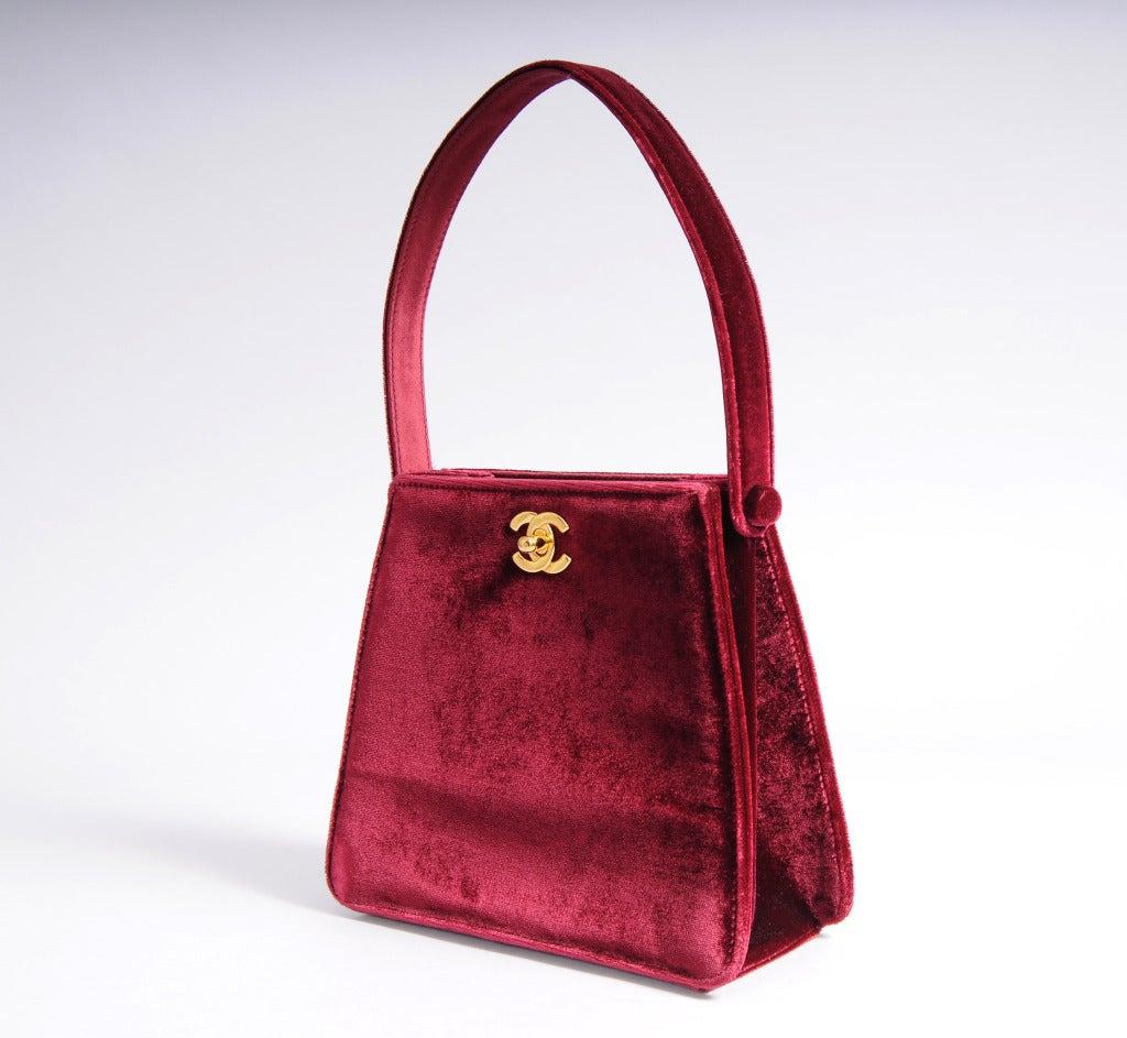 Chanel Red Burgundy Velvet Evening Bag 2